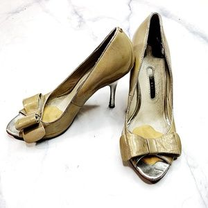 Ted Baker Gold Silver Peep Toe Bow High Heel Pumps